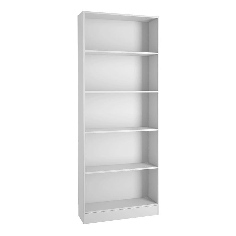 Essentials Tall Wide Bookcase (4 Shelves) in White